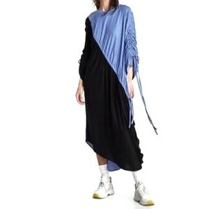 ZARA NWT black & blue drawstring midi dress